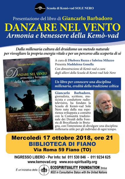17 ottobre 2018 ore 21 - Biblioteca di Fiano (TO) - Presentazione del libro Danzare nel vento di Giancarlo Barbadoro