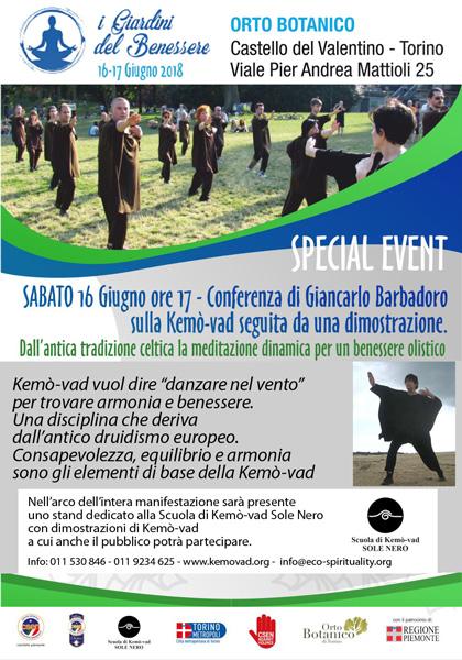 Sabato 16 Giugno 2018, ore 17 - Conferenza e dimostrazione di Kemò-vad all'Orto Botanico presso il Castello del Valentino di Torino