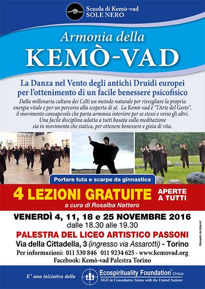 KEMO'-VAD 4 lezioni gratuite - Palestra Passoni Novembre 2016, Torino