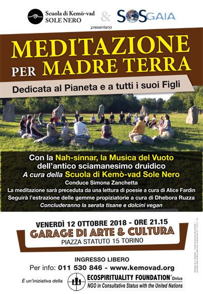 12 ottobre 2018 ore 21.15 - Meditazione per Madre Terra a cura della Scuola di Kemò-vad Sole Nero