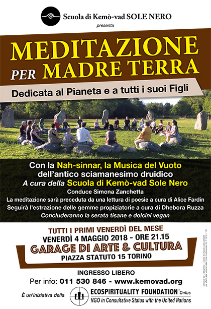 4 maggio 2018 ore 21.15 - Meditazione per Madre Terra a cura della Scuola di Kemò-vad Sole Nero
